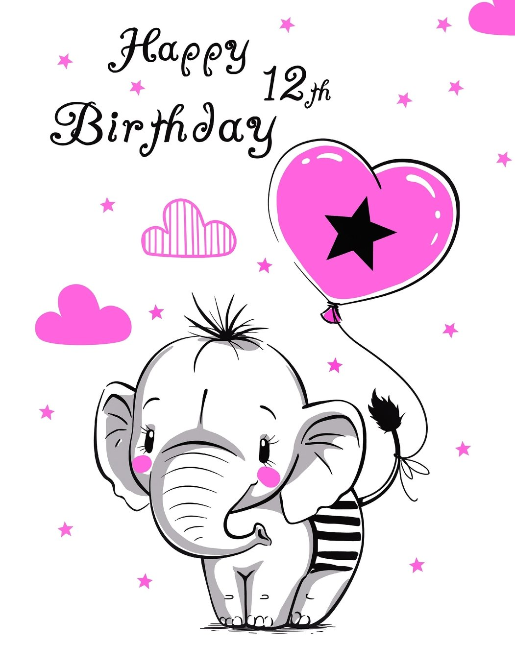 """Download Happy 12th Birthday: Notebook, Journal, Diary, 105 Lined Pages, Cute Elephant Themed Birthday Gifts for 12 Year Old Girls, Tweens, Daughter, Sister, Best Friend, Granddaughter, Book Size 8 1/2"""" x 11"""" ebook"""