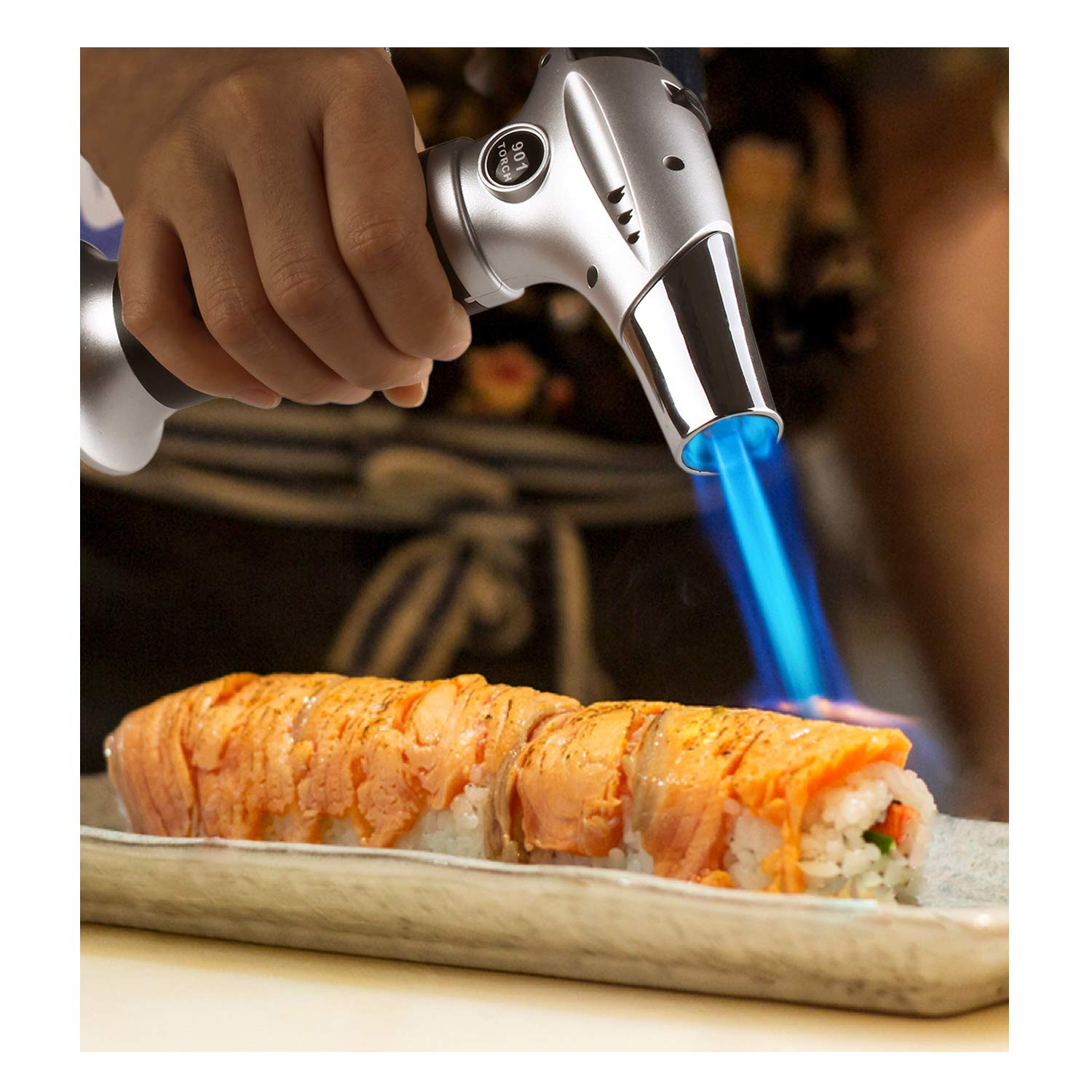 Blow Torch Lighter, Culinary Torch, Refillable Kitchen Butane Torch with Safety Lock and Adjustable Flame Perfect for DIY, Creme Brulee, BBQ and Baking, Butane Gas Not Included, Black by Sondiko (Image #7)