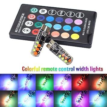 TABEN T10 RGB - Bombilla LED de colores para mando a distancia de coche, inalámbrica, 16 colores ...