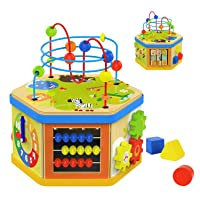 TOP BRIGHT Activity Cube Toys Baby Wooden Bead Maze Shape Sorter 7-in-1 Toys for...