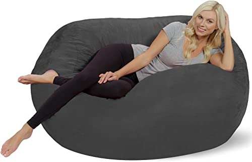 Chill Sack Bean Bag Chair Huge 5 Memory Foam Furniture Bag and Large Lounger – Big Sofa with Soft Micro Fiber Cover – Charcoal