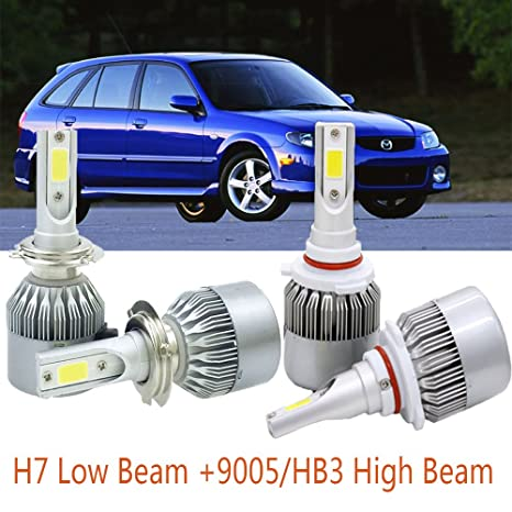 9005/HB3 H7 Headlight Bulb, LED Kit Car Lights with COB Chips 7600 Lumens