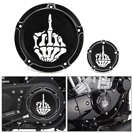 KaTur Motorcycle Black Clarity Edge Deep Cut Derby Timing Cover CNC Aluminum Derby Cover Timing Timer Covers for Harley 1999-2014 Harley Twin Cam Touring Road King Electra Glide FLHR FLHX FXST Dyna