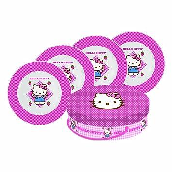 Diseño de Paperproducts Hello Kitty platos de porcelana a cuadros de 8.25-inch, juego de 4: Amazon.es: Hogar