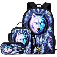 Kuiaobaty Juego de bolsas escolares 3 en 1 con bolsa de almuerzo, estuche para escuela secundaria, Atrapasueños lobo…