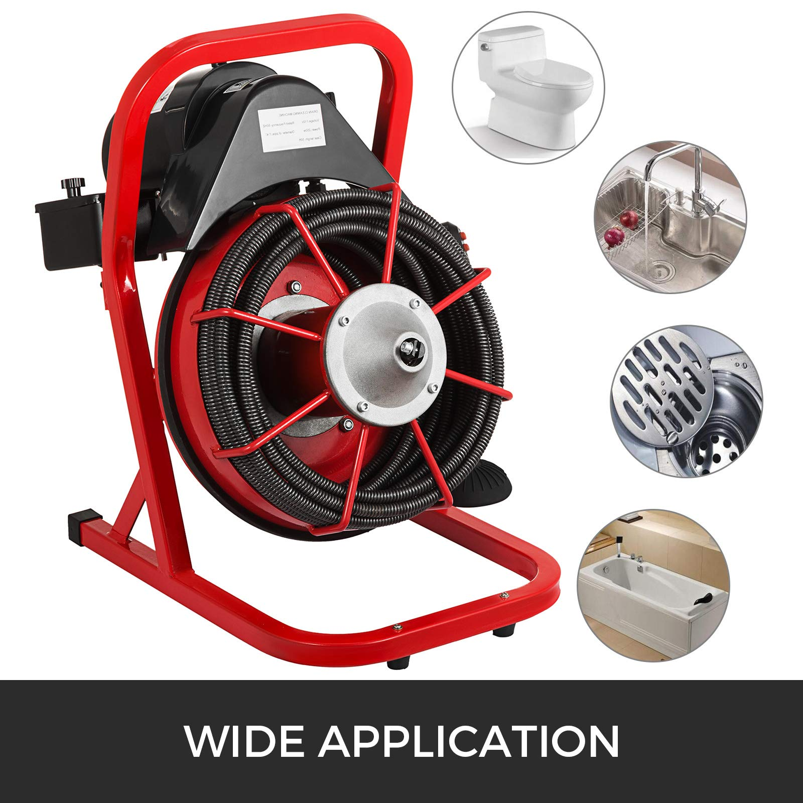 VEVOR 50 Ft x 1/2 Inch Drain Cleaner Machine Best fit 1''(25mm) to 4''(100mm) Pipes Drain Cleaning Machine Portable Drain Auger Cleaner with 4 Cutters Electric Drain Auger Plumbing Tool (50Ft x 1/2In) by VEVOR (Image #3)