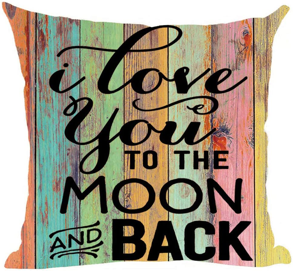 ramirar Word Art Quote I Love You to The Moon and Back Colorful Wood Background Lover Decorative Throw Pillow Cover Case Cushion Home Living Room Bed Sofa Car Cotton Linen Square 18 x 18 Inches