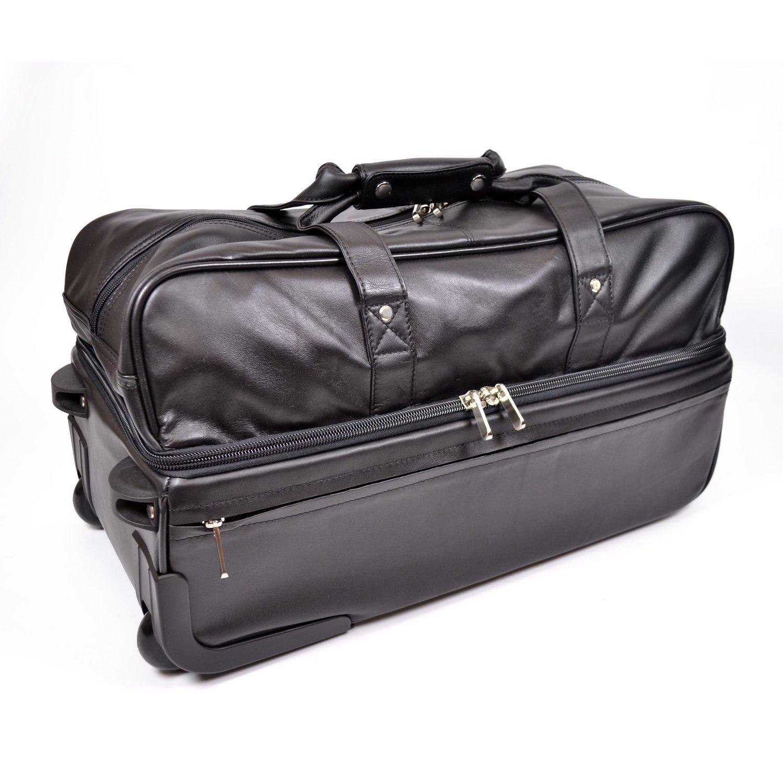 Royce Leather Luxury Rolling Duffel Bag Luggage in American Genuine Leather