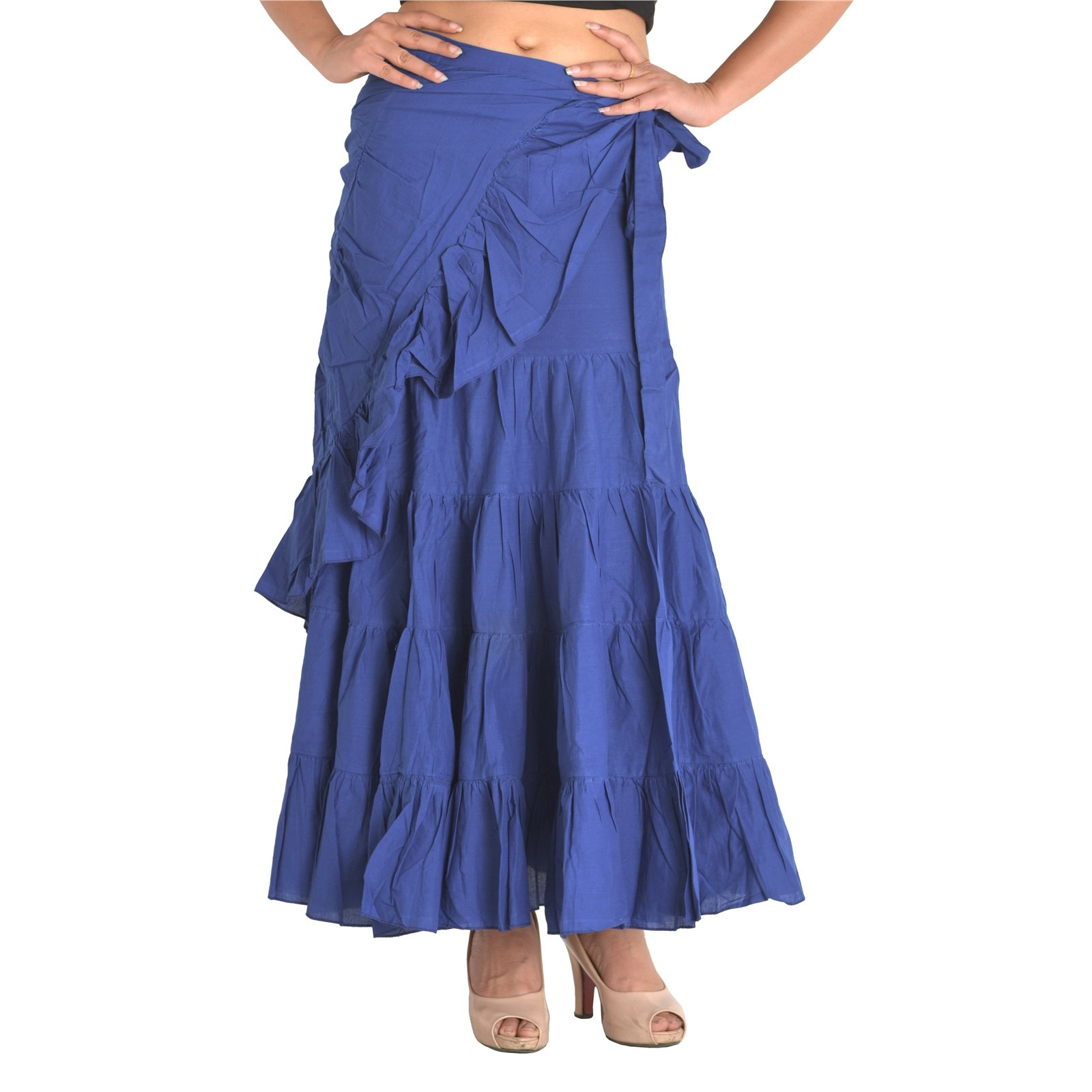 SNS Blue Cotton Solid Long Wraparound Skirt with Ruffle