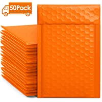 Metronic 50pcs Poly Bubble Mailers 4x8 Inch Padded Envelopes #000 Bubble Lined Poly Mailer Self Seal Orange