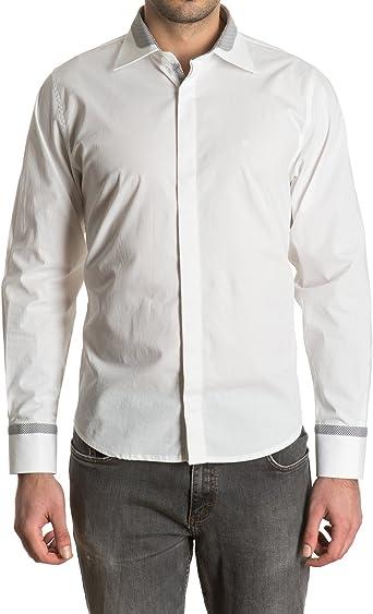 Sinigual - Camisa Lisa De Hombre Con Cuello Italiano Bicolor, Botones Ocultos Y Puños Ajustables Color Blanco, Talla M: Amazon.es: Ropa y accesorios
