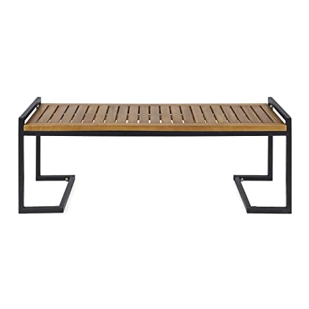 Great Deal Furniture 306426 Noel Outdoor Industrial Acacia Wood and Iron Bench, Teak and Black, Finish Metal