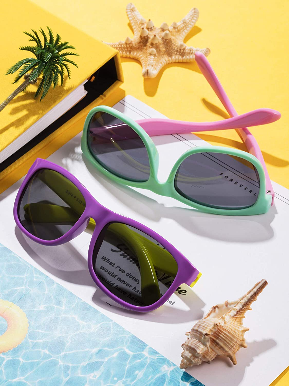 Blulu 2 Pieces Toddler Sunglasses Rubber Flexible Kids Polarized Sunglasses