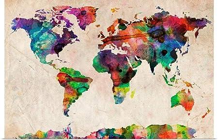 Carte Du Monde Urbain Aquarelle Peinture Diy Par Numeros Mur Art Numerique Toile Huile Decoration De La Maison Pour Salon Amazon Fr Cuisine Maison