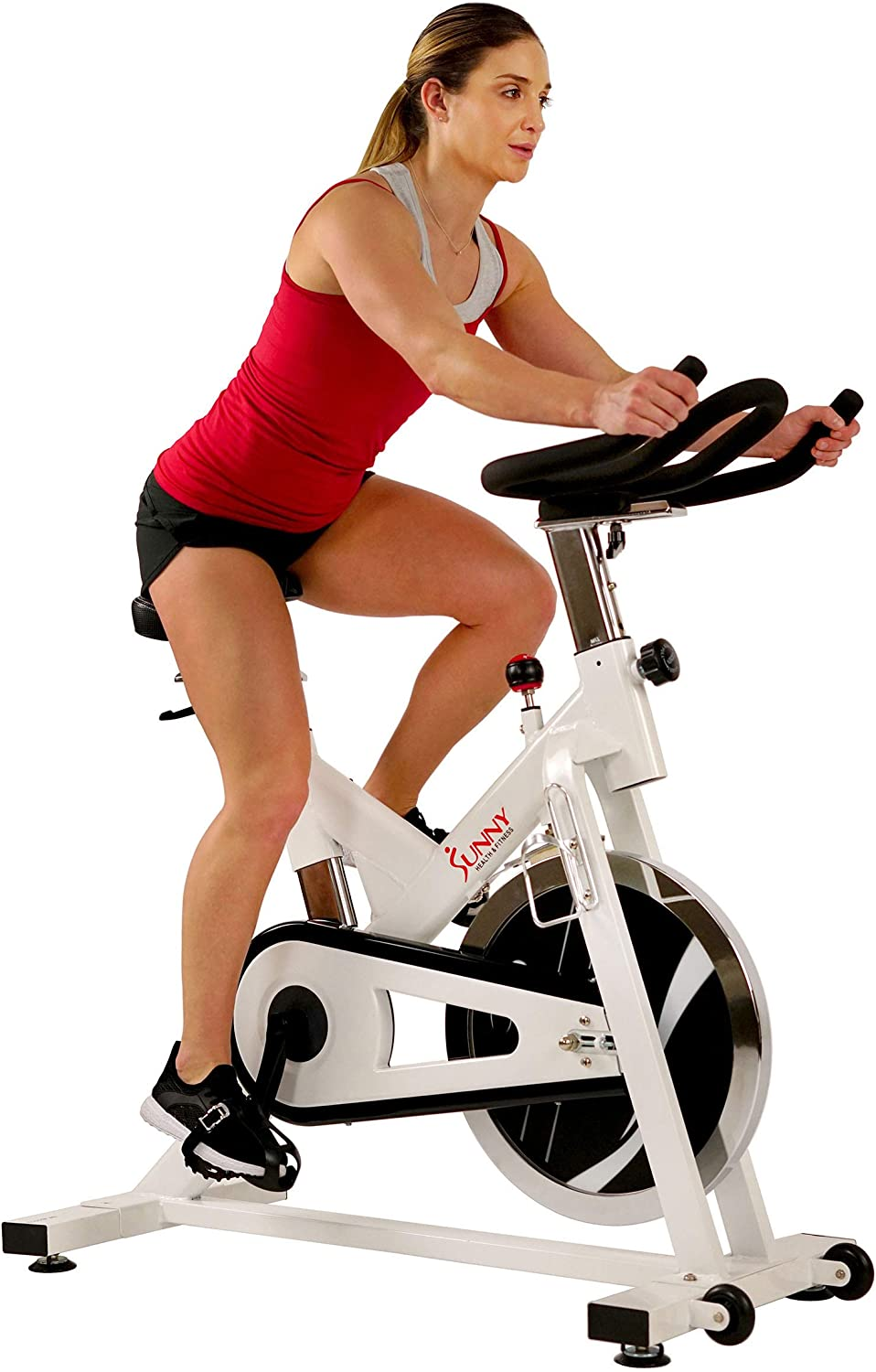 Sunny Health Fitness Indoor Exercise Stationary Cycle Bike with 44 LB Inertia Flywheel, Smooth Chain Drive, Felt Resistance, 265 Max Weight – SF-B1110 S