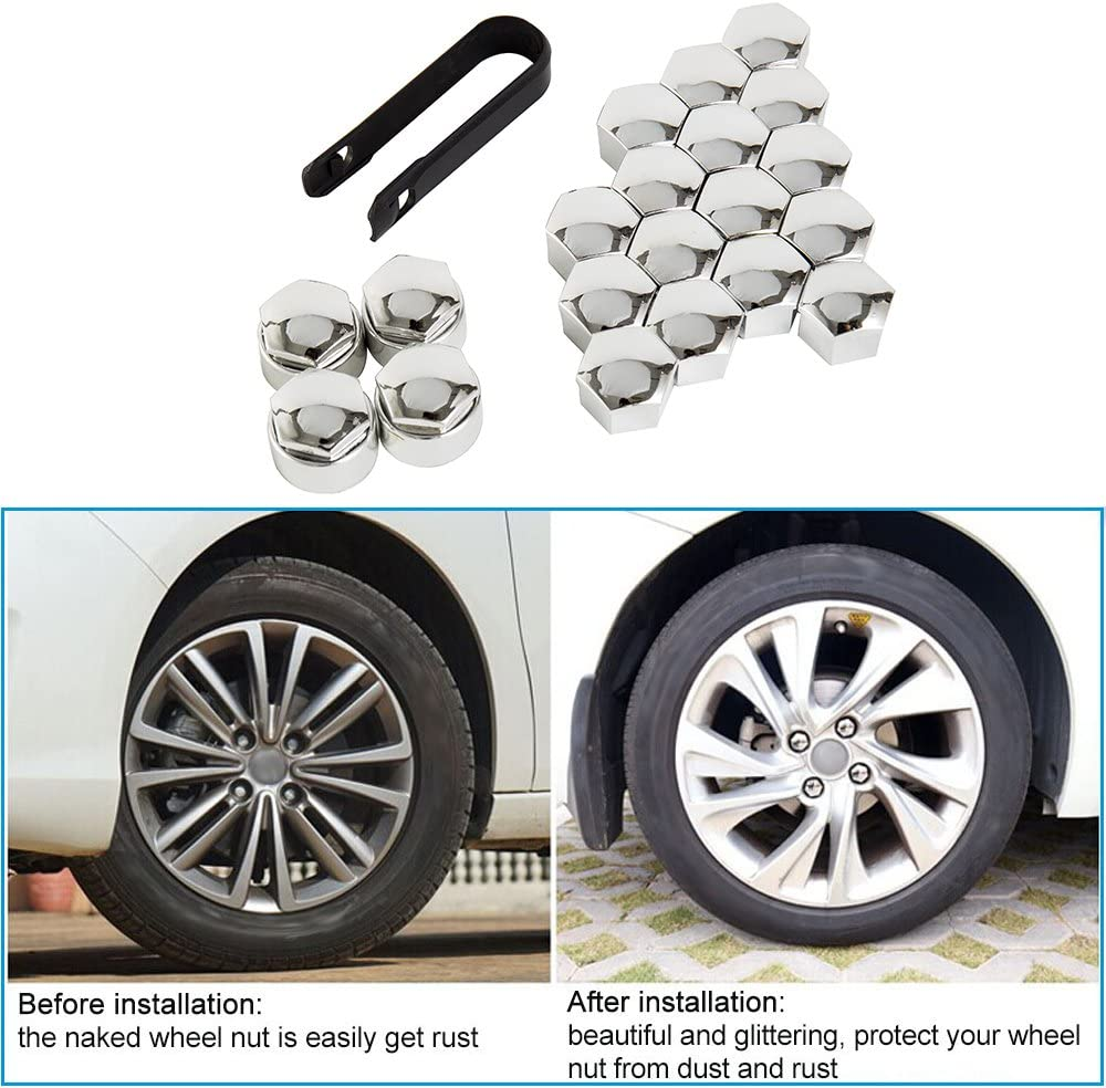 WarmCare 20 Pcs Wheel Lug Nut Bolt Cover Caps New Universal 17mm with Removal Tools for Audi VW Vauxhall BMW Mercedes Renault Black