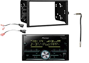 Pioneer Double Din Bluetooth MIXTRAX SiriusXM Ready Digital Media Receiver, Enrock Double-DIN Dash Kit, Metra 2 Pin Rectangular Speaker Connector, Metra Antenna Adapter (Select 2001-2009 Vehicles)