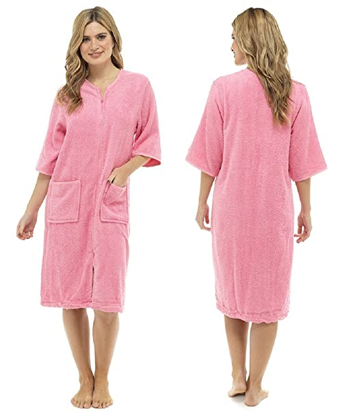 the latest discount attractive price TF Ladies/Womens Cotton Terry Zip Front Dressing Gown/Bathrobe/Housecoat