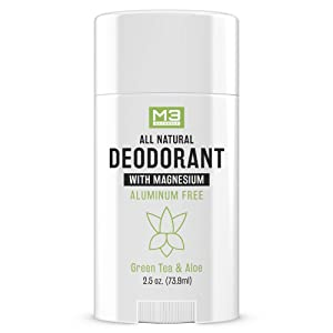 M3 Naturals All Natural Deodorant with Magnesium Green Tea and Aloe for Men and Women Free of Aluminum Parabens Sulfates Cruelty and Gluten Healthy Vegan Organic