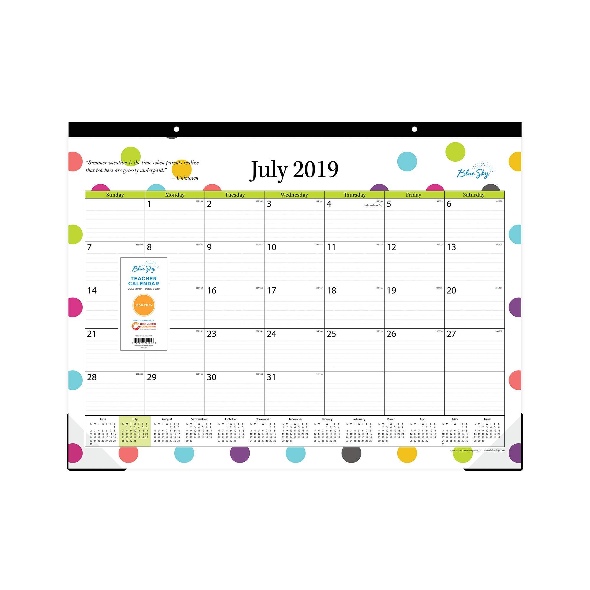 Blue Sky 2019-2020 Academic Year 105496-A20 Teachers Monthly Desk Pad Calendar, Ruled Blocks, 22'' x 17'', Dots by Blue Sky