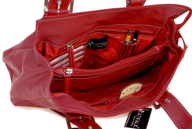 Catwalk Collection handväskor – läder – axelväska/läderväska/axelväska – JANE röd