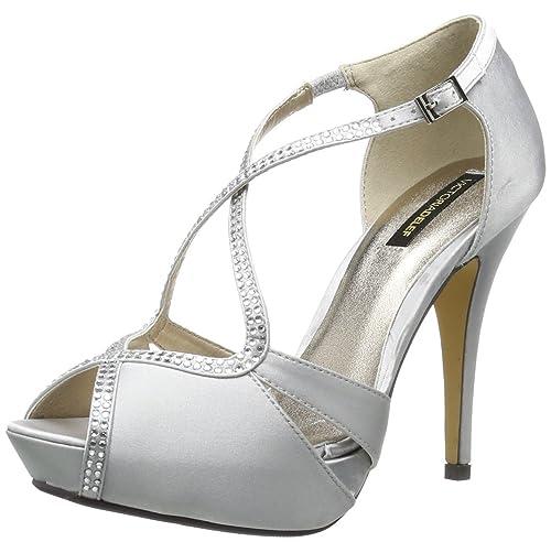 38 y Victoria DRESSY satén es talla color mujer de Zapatos SHOES Delef plateado Amazon para Sandalias complementos 14V0503 7pawqfA7