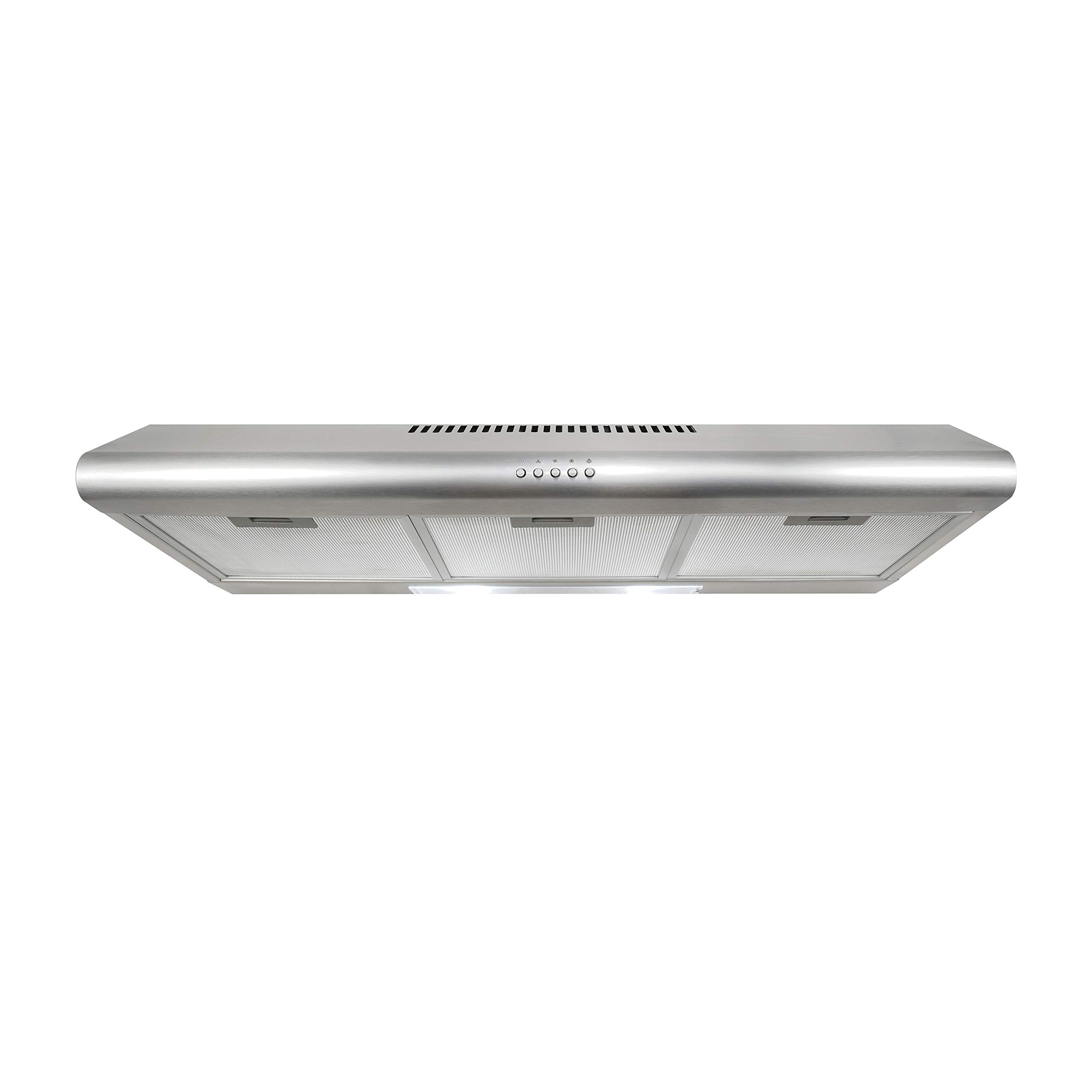 Cosmo 5MU36 36-in Under-Cabinet Range-Hood 200-CFM   Ducted / Ductless Convertible Top / Rear Duct , Slim Kitchen Stove Vent with LED Lights, 3 Exhaust Fan Speeds, Reusable Filters (Stainless Steel)