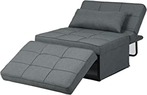 Diophros Folding Ottoman Sleeper Guest Bed, 4 in 1 Multi-Function Adjustable Guest Sofa Chair Sofa Bed (Deep Grey)
