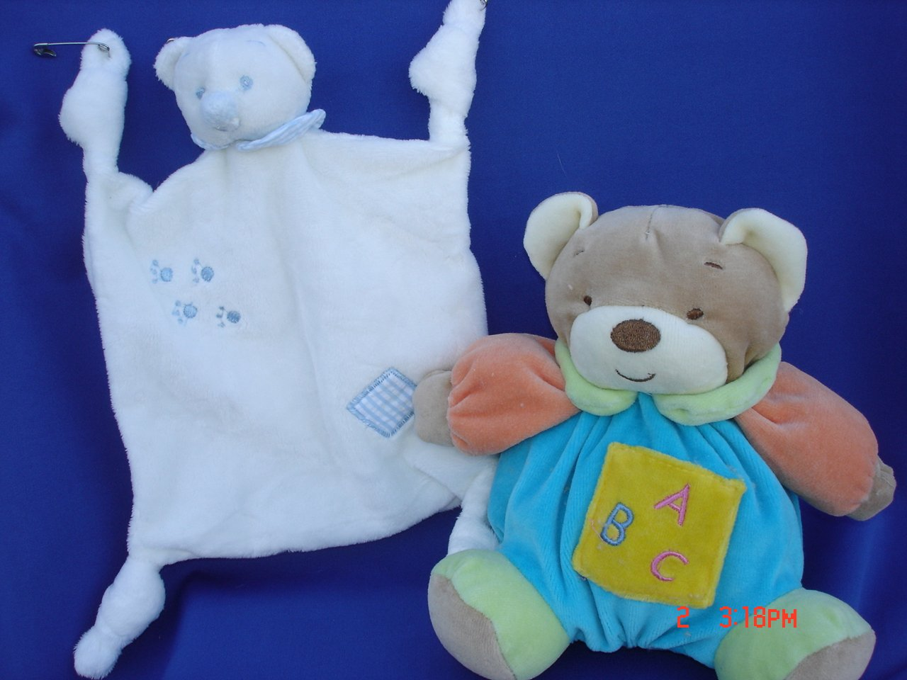 Ultra Soft Baby Blue Teddy Bear Plush Blankie 7.5''x7.5'' Teething Blanket Lovie and My First Baby Blue Plush Teddy Bear Stuffed Animal Toy Rattle 7'' Tall, 2 Pcs Set