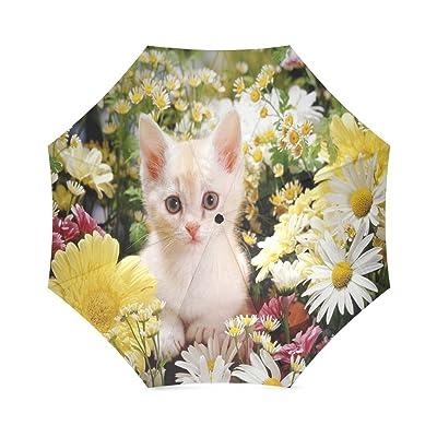Custom Cute Cat Compact Travel Windproof Rainproof Foldable Umbrella good