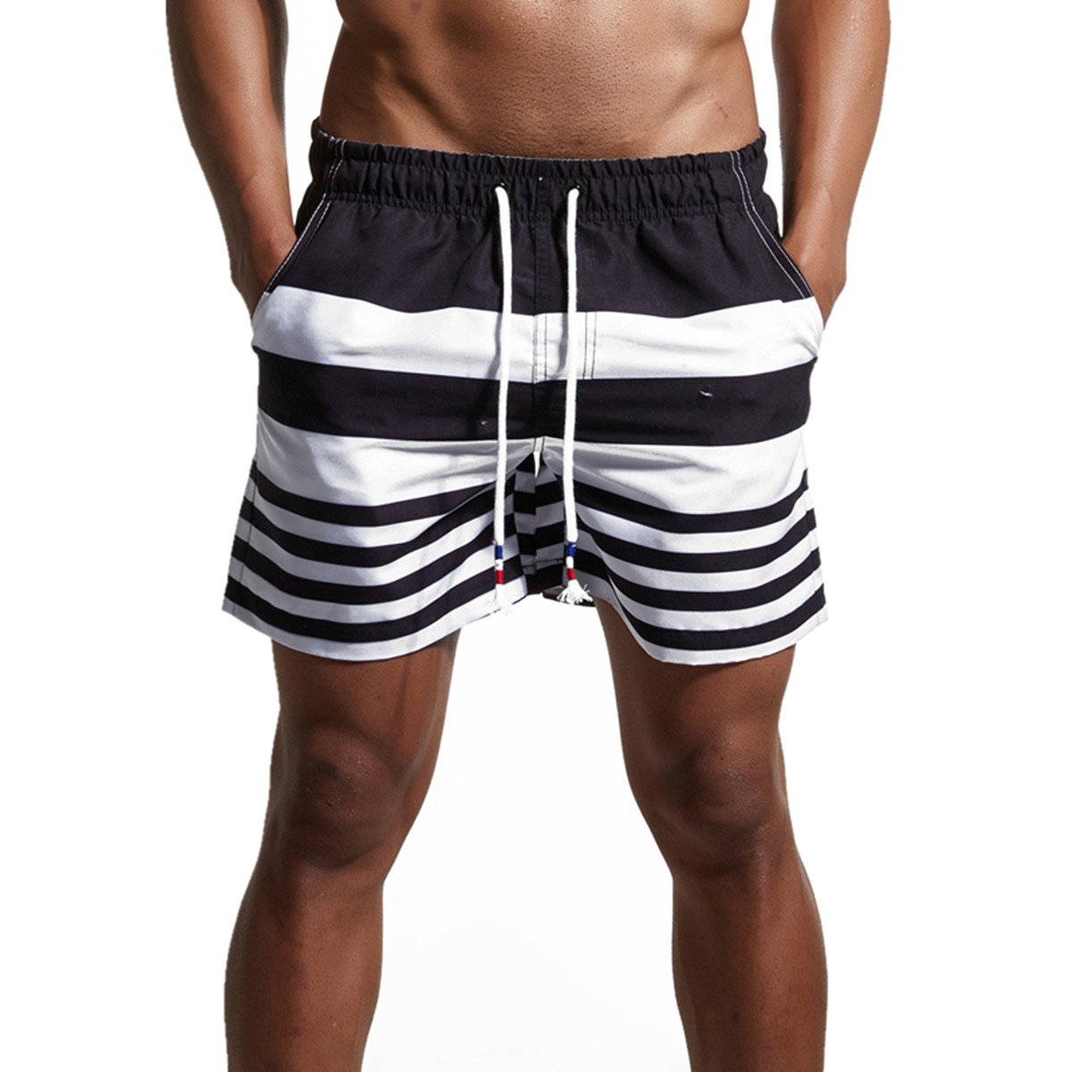 CHENHENG Mens Swim Trunks Swim Shorts Quick Dry Beach Shorts Broad Shorts with Pockets for Surfing Swimming (L_ Asia XXL -Waist:33\