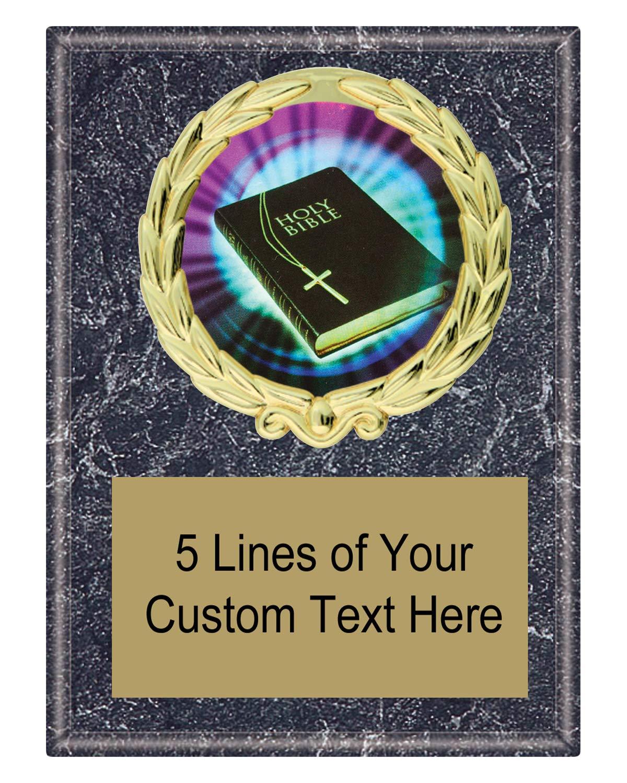 エクスプレス メダル 5×7 ブラック マーブル カラー 聖書 学校 額 賞 トロフィー 刻印プレート付き MY4 B07N5NQ61R