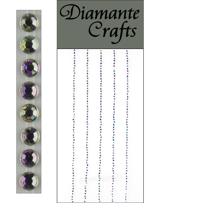 300 x 1mm Black Diamante Self Adhesive Strips Rows Rhinestone Craft Gems