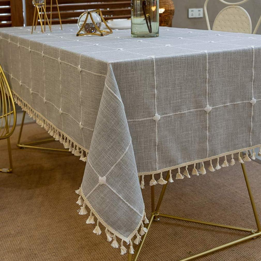 Pahajim Stripe Tassel Design Tablecloth Washable Oval Cotton Linen Table Cloth Rectangular Kitchen Table Covers Dust Proof Coffee Garden Table Decoration