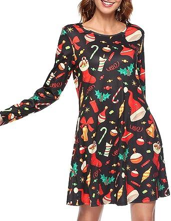 b6a996d16bb Opkelana Women s Long Sleeves Plus Size Tunic Tops Christmas Style Swing  Dress at Amazon Women s Clothing store