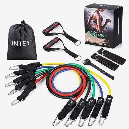 INTEY Fitnessbänder Tube Set in 5 Stärken Widerstandsbänder aus Naturlatex Resistance Bands Widerstandsband + Griffe, Tasche,