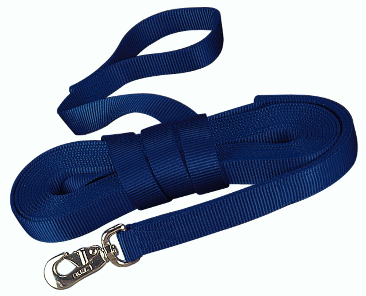 (2.5cm  7.9m, Navy bluee) Hamilton 1 Single Thick Nylon Horse Longe Line with Snap 7.9m with 60cm Chain