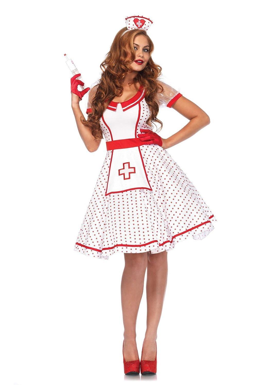 Leg Avenue Damen Kostüm Krankenschwester Nikki S/M weiß rot 8553205062