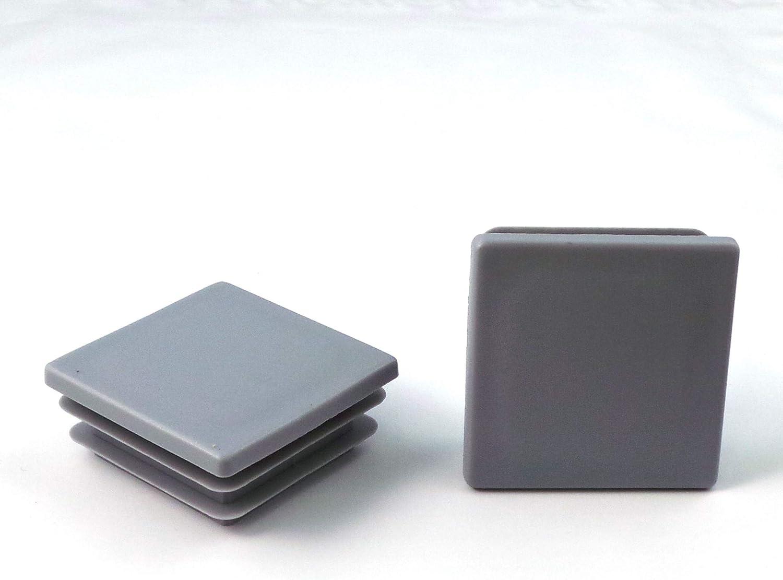 5 pcs Bouchon pour tuyau carr/é 20x20 mm gris plastique Capuchon Bouchons