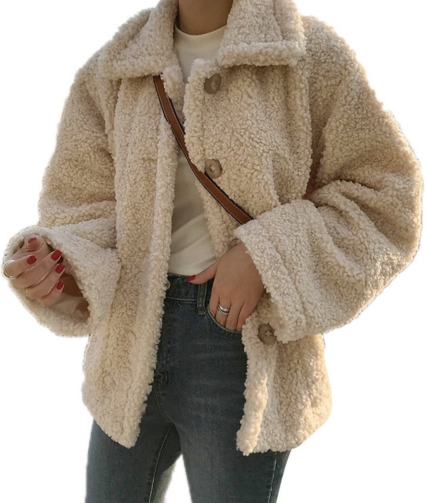 Luodemiss Women's Faux Shearling Coat Lapel Sherpa Long Sleeve Front Button Down Jacket Outwear Apricot,L