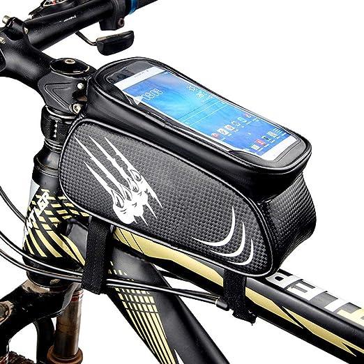 Soporte para teléfono de bicicleta, bolso de marco frontal para ...