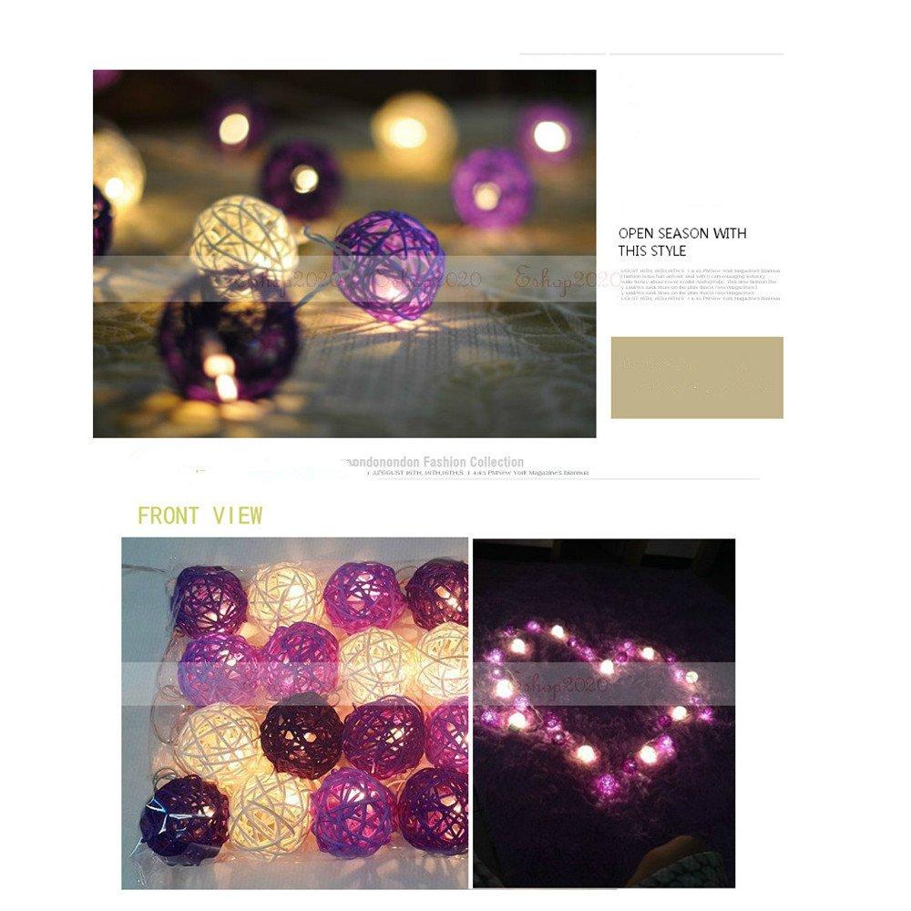 Fding Battery Operated Multi Colour Warm Light 20 Leds Rattan Ball Fairy Lights String Flexble Romantic Decorations Lighting
