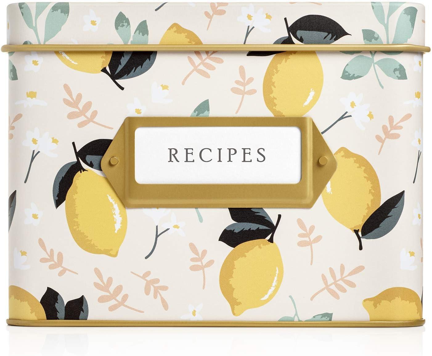 Jot & Mark Decorative Tin for Recipe Cards   Holds Hundreds of 4x6 Cards (Lemon Zest)