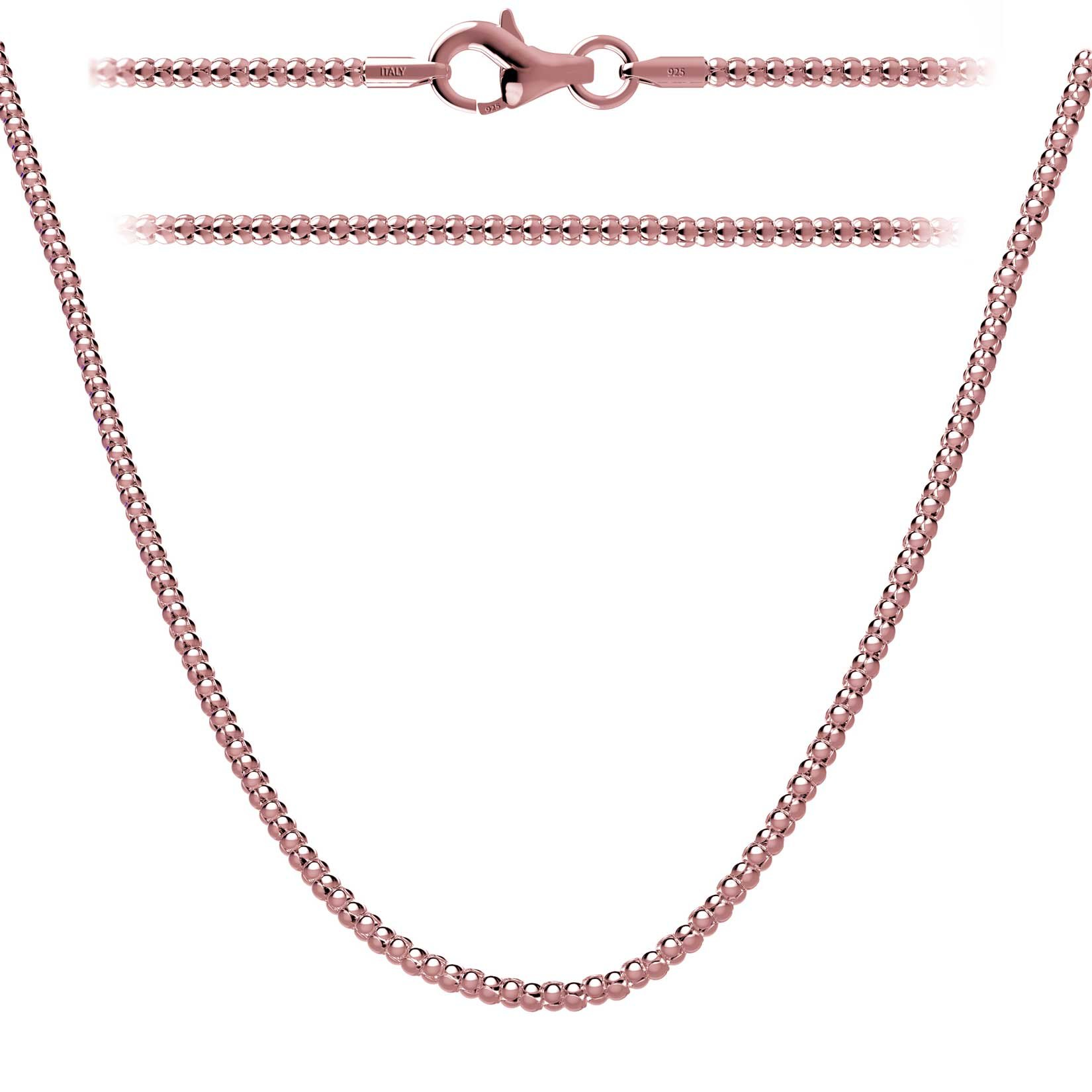 Rose Gold Plated Sterling Silver Italian Popcorn Chain Necklace 16 inch