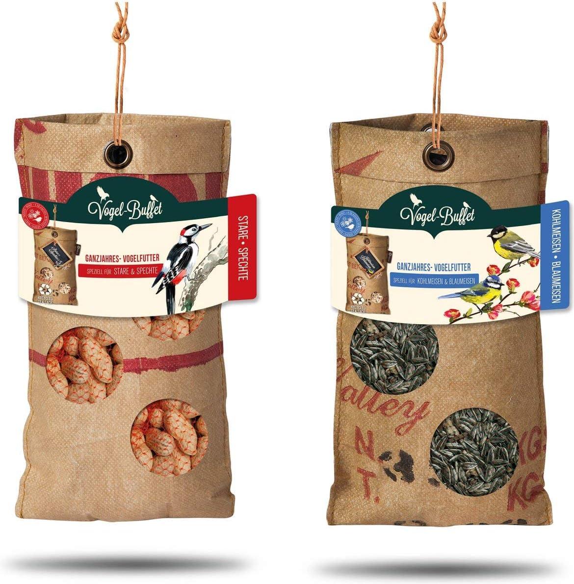 Baza - Juego completo de 2 comederos para colgar en la columna, bolsas de té recicladas, con juego de pájaros (lanzadores y hormigas de carbono)