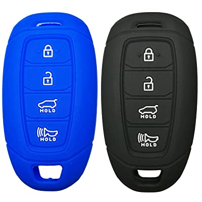 2Pcs Coolbestda Silicone Key Fob Cover Protector Keyless Jacket Remote Control Holder for Hyundai Kona Azera Grandeur IG Black Blue: Car Electronics
