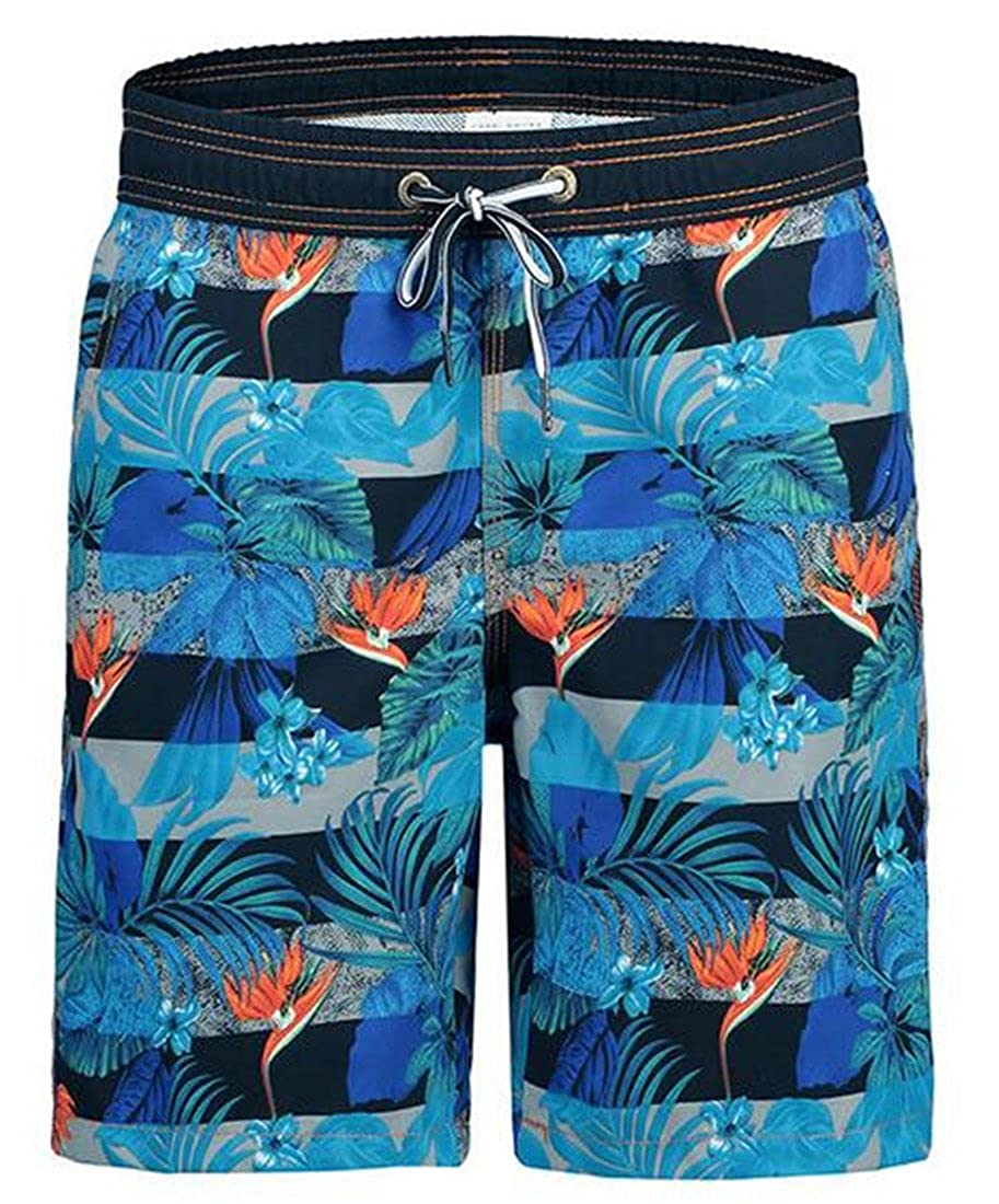 FRPE Men Swim Trunks Pockets Mesh Lining Printing Quick Dry Beach Board Shorts Swimwear