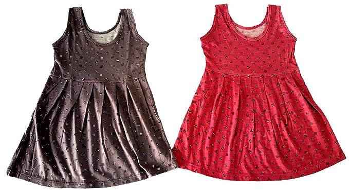 69ec6b55f55a6 LITTLE PANDA A line Frock Regular Summer Baby Girl Cotton Half Sleeves Cut  Sleeve Sleeveless Vest