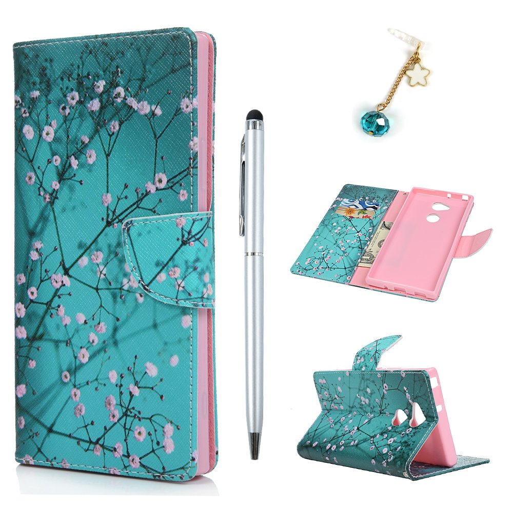 Badalink Sony Xperia XA2 ULtra Case, PU Leather Wallet Case Cover Prints Folio Flip Case Magnetic Closure Cover for Sony Xperia XA2 ULtra with Card Holder & 1 Touch Pen & 1 Dust Plug,Colorful flowers