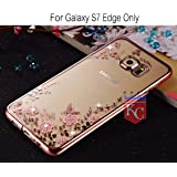 KC Shockproof Silicone Soft Transparent Auora Flower Case with Sparkle Crystals for Galaxy S7 edge Back Cover (Rose Gold + Pink)